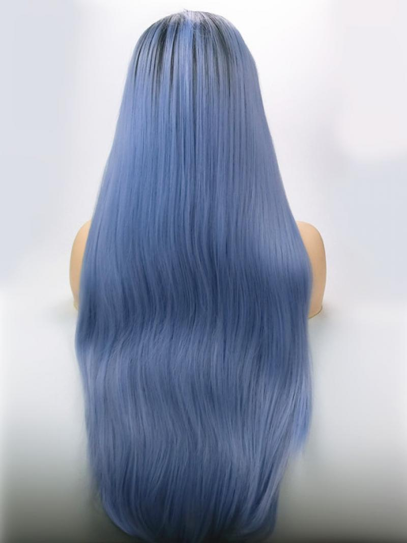 Pastel Blue Dark Root Long Straight Synthetic Lace Front
