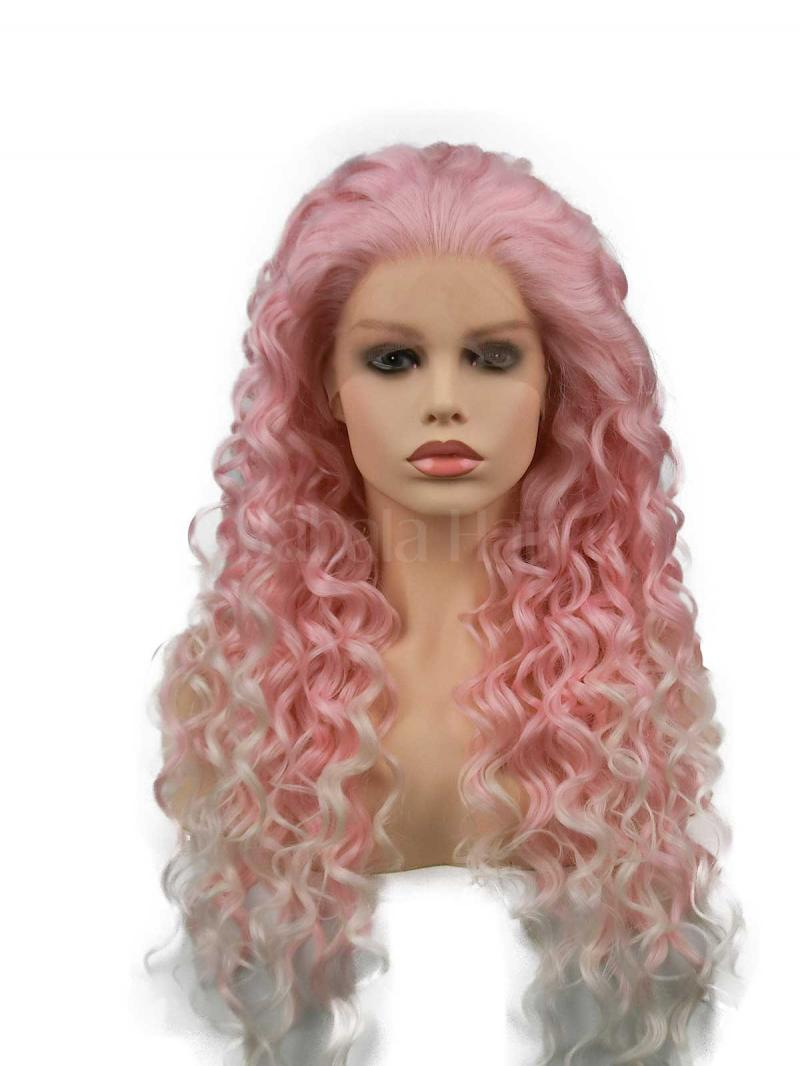 Lollipop Pink White Mix Color Long Curly Lace Front Wig