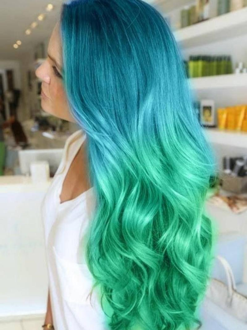 Mermaid Moana Blue To Green Ombre Color Long Wave Lace Front