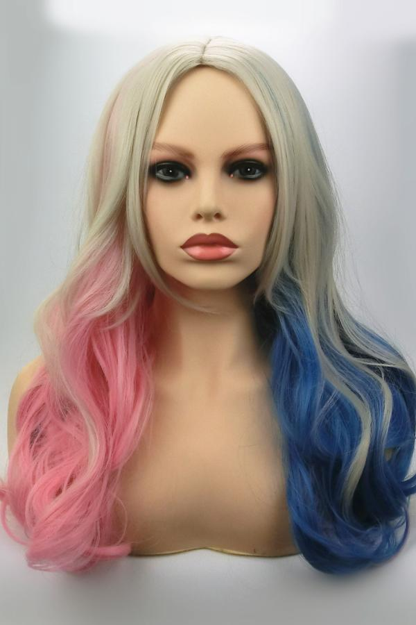 Long Curly Blue Wig