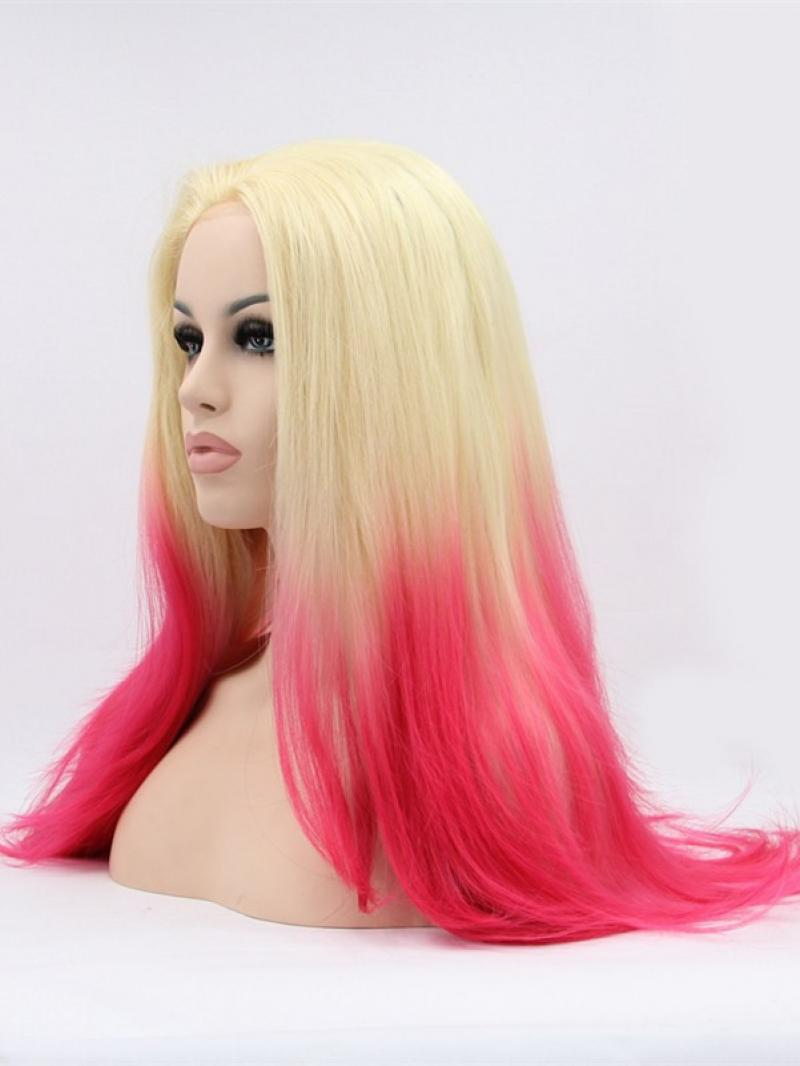 Long Blonde To Red Straight Synthetic Lace Front Wig