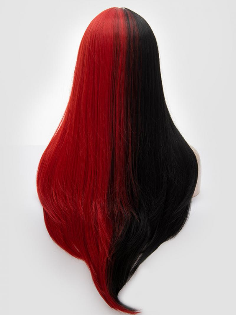 Half Black Half Red Long Straight Non Lace Wefted Wig