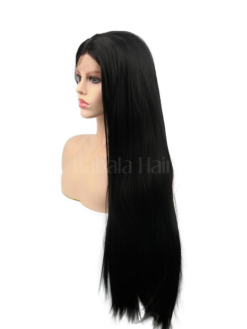 Long Straight Black Synthetic Lace Front Wig Babalahair