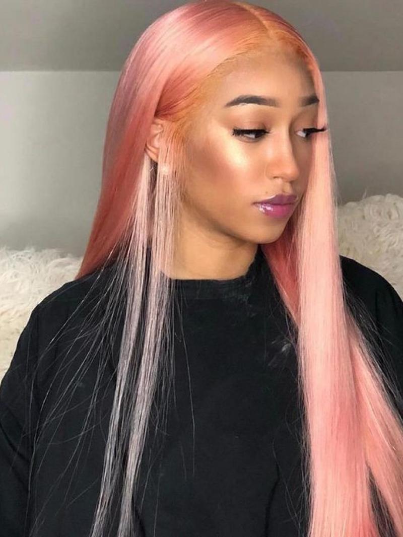 Sweet Shell Pink Straight Human Hair Full Lace Wig Human