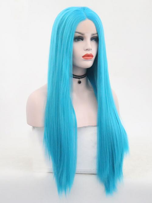 Ice Blue Long Straight Lace Front Wig Synthetic Wigs