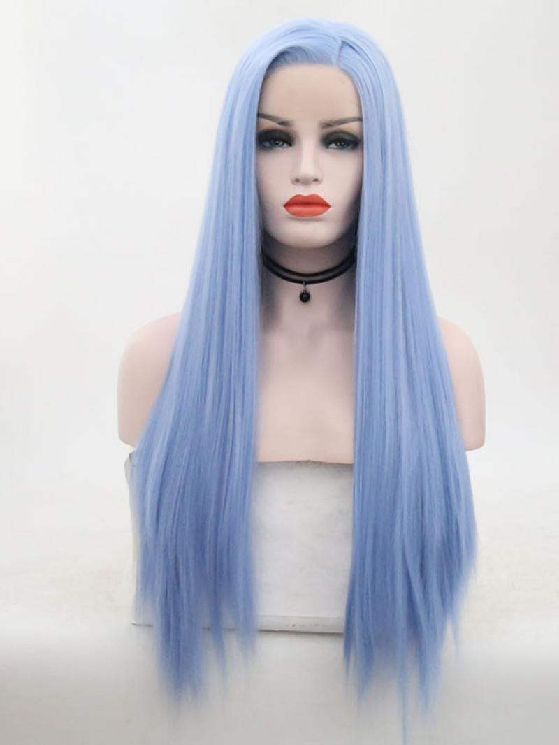 Light Blue Long Straight Lace Front Wig Synthetic Wigs