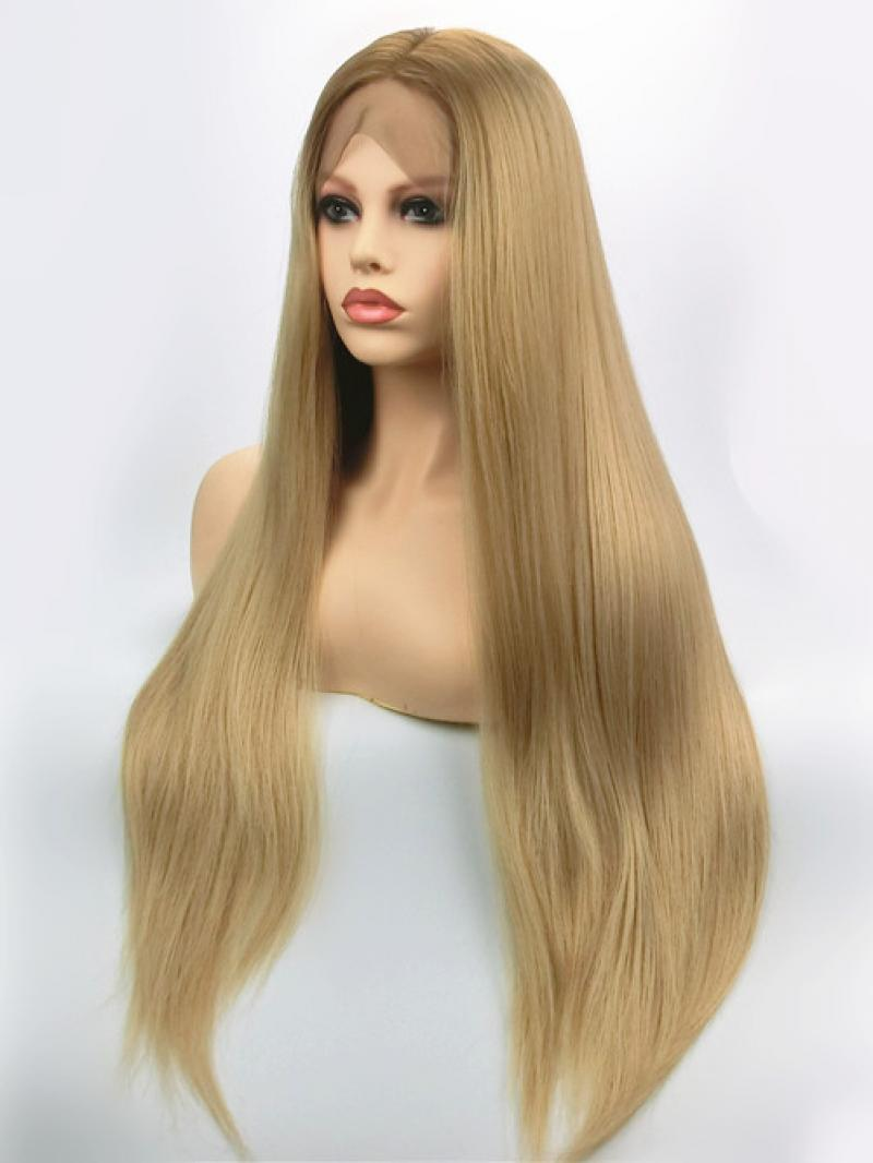 8 27m613 Browm Root Mix Blonde Long Straight Lace Front