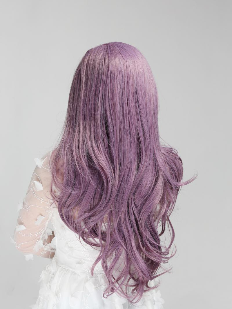 Dusty Lavender Color Long Hair Style Synthetic Lace Front